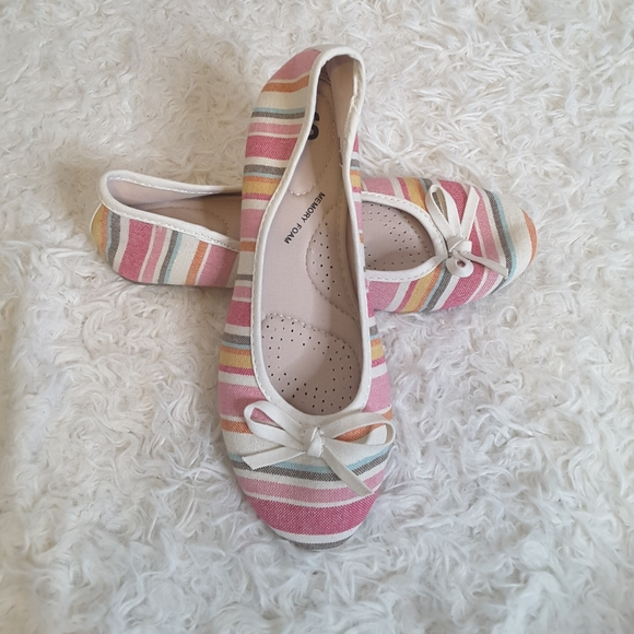 3/$30 SO orchid pink multi ballet flat w/bow 6.5M